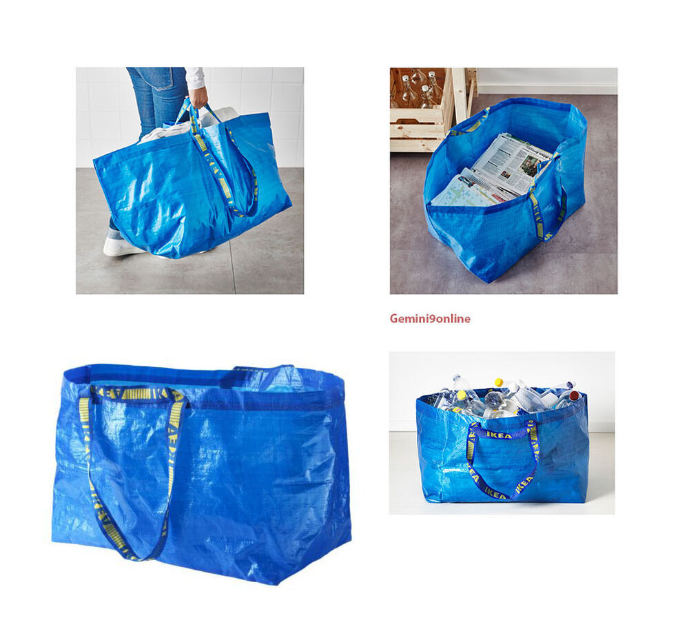 Ikea Large Blue Shopping Bag Grocery Laundry Storage Tote