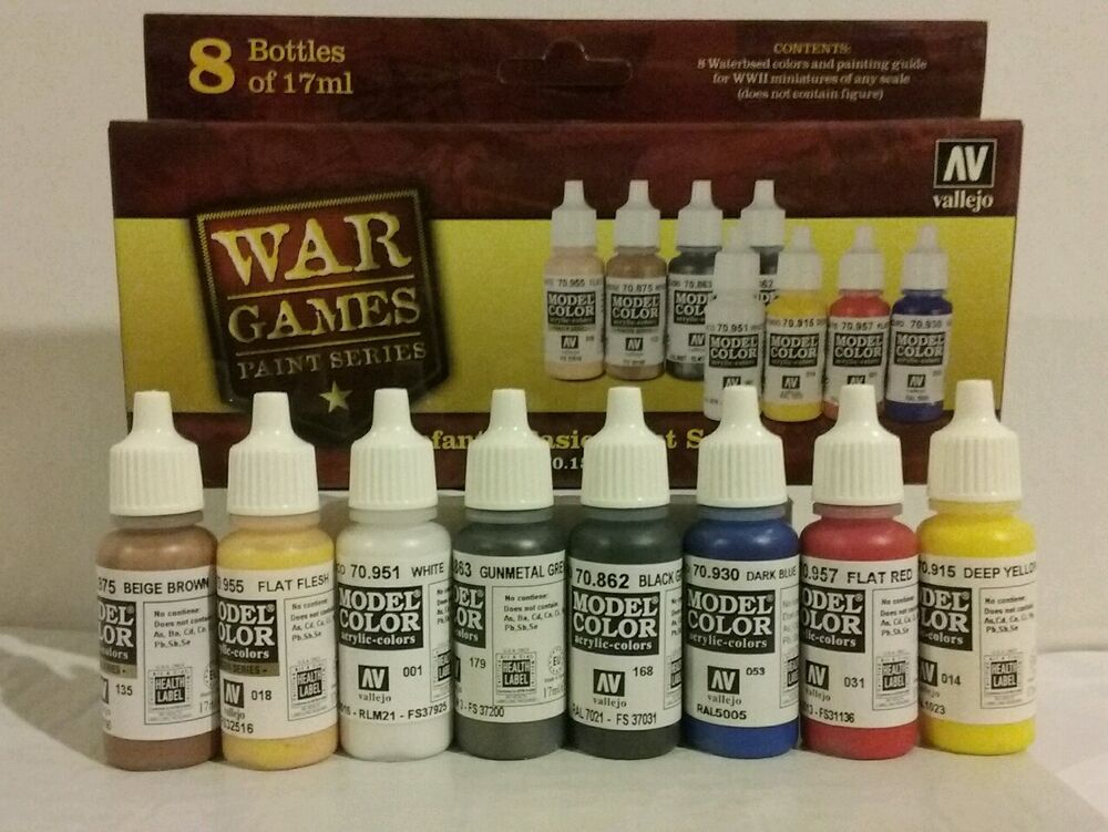 Vallejo acrylic paint infantry basic paint set ebay for Basic acrylic paint colors to have