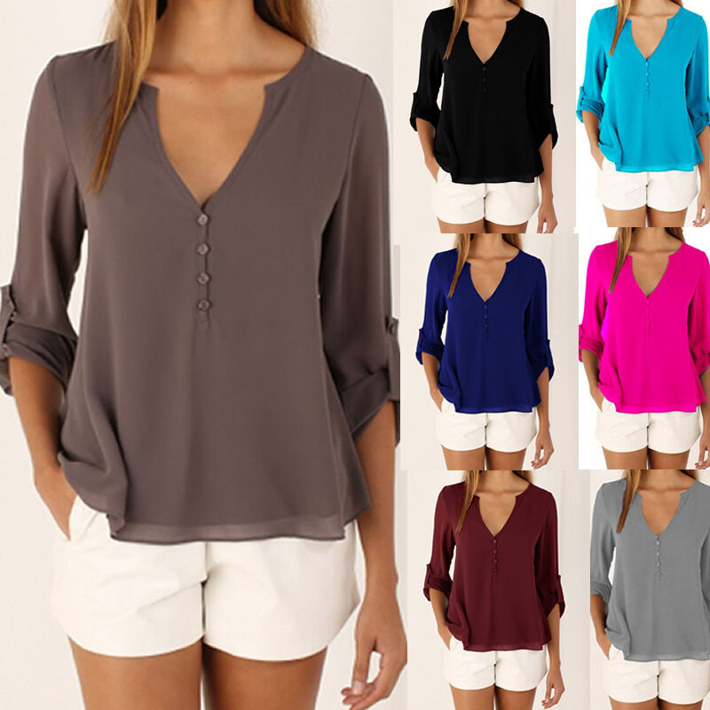 19249cadb1a4f8 Details about Women Chiffon Casual Long Sleeve V-neck OL Tops Shirts Blouse  Clothes Plus Size