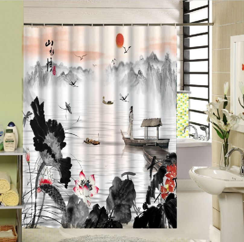 Oriental Chinese Ethnic Art Waterproof Bath Drape Hook Shower Curtains DIY