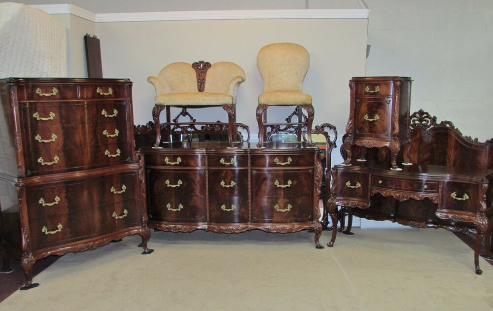 Antique vintage flame tip mahogany 9 piece bedroom set for Quality bedroom furniture sets