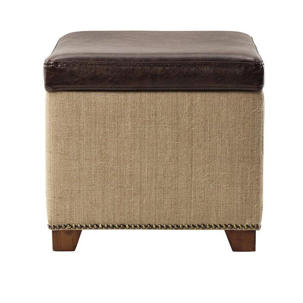 Ethan Storage Ottoman In Brown Leather With Burlap Ebay