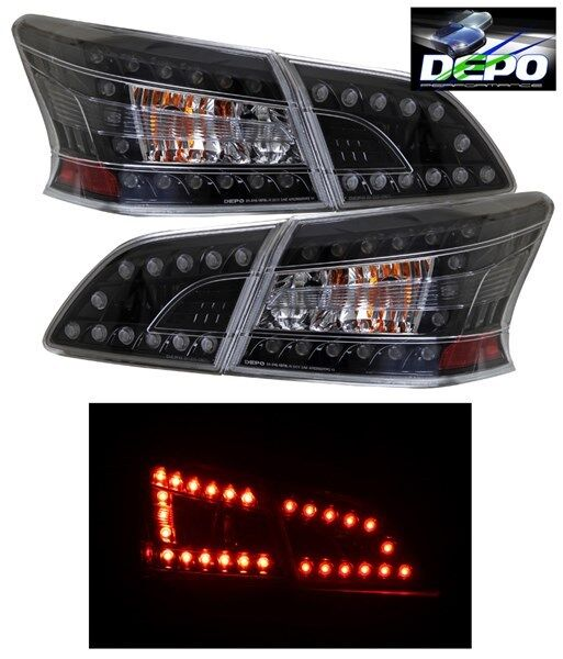 2014 Nissan Altima >> LED Tail Lights Black Housing 4 Pcs Set by DEPO Fits Nissan Sentra 2013-2016 | eBay