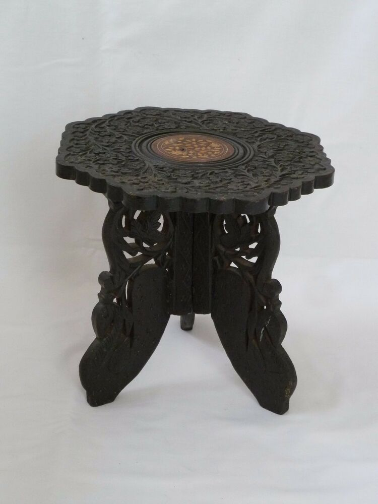 Vintage indian moroccan hand carved coffee table plant for Indian carved coffee table