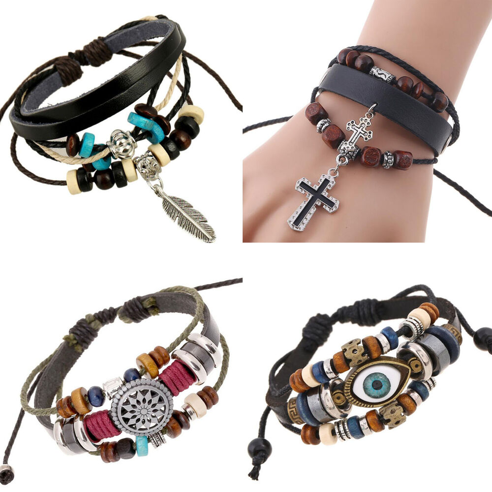 Leather Wrap Bracelet With Charms: Fashion Women Men Bracelet Jewelry Leather Infinity Charm