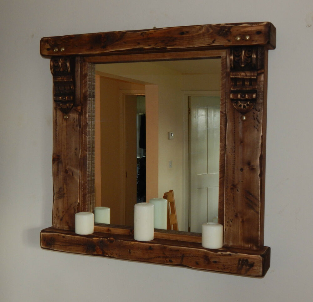 Large rustic wooden mirror with shelf and corbels for Rustic mirror