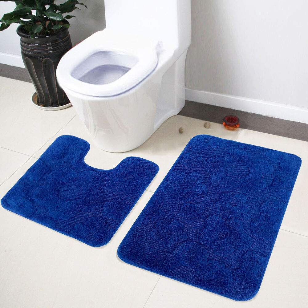 Lushomes Ultra Soft Cotton Royal Blue Bathroom Contour