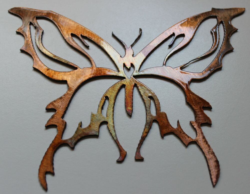metal wall art decor small butterfly ebay. Black Bedroom Furniture Sets. Home Design Ideas