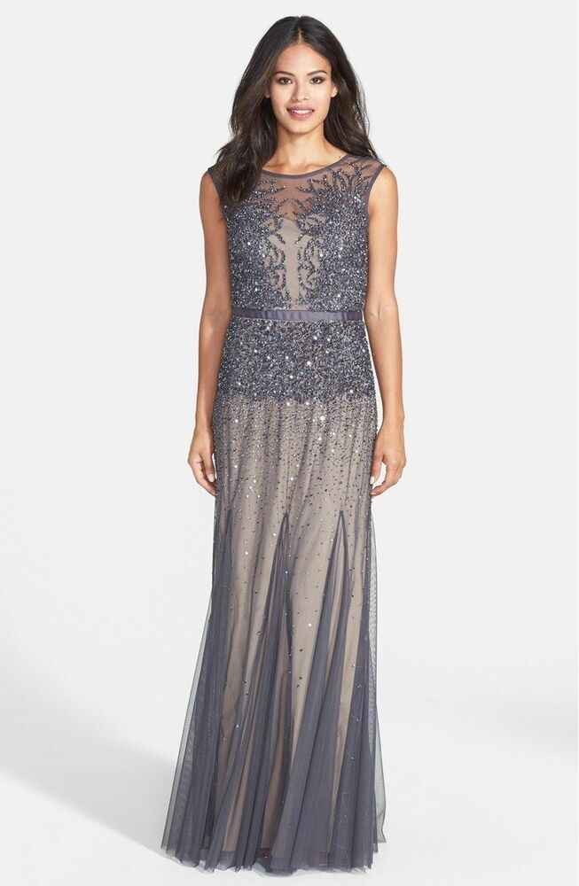 Nwt Adrianna Papell Sleeveless Beaded Illusion Gown Dress