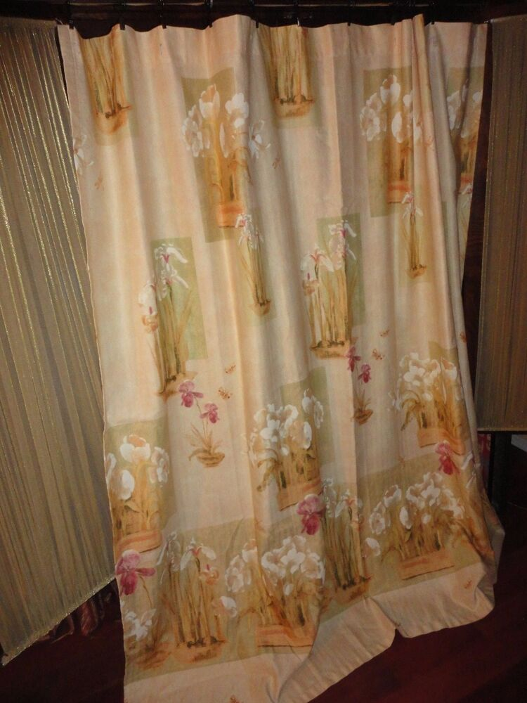 croscill iris bulbs gold pink green floral fabric shower curtain 69 x 72 ebay. Black Bedroom Furniture Sets. Home Design Ideas