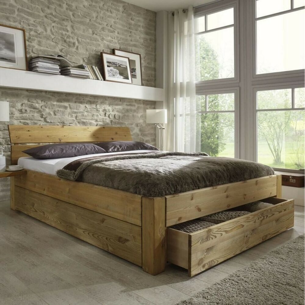 doppelbett 180x200 h he 45cm 1 schubladen bett holz kiefer massiv gelaugt ge lt ebay. Black Bedroom Furniture Sets. Home Design Ideas