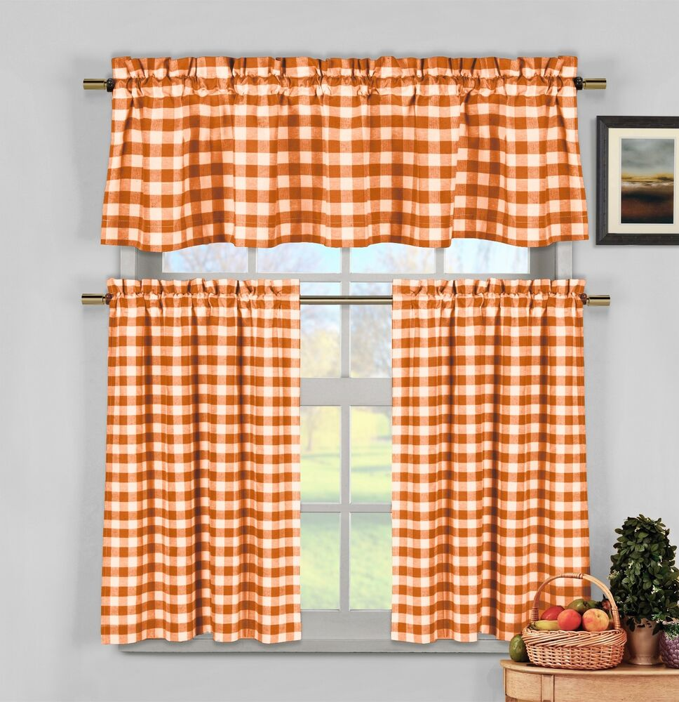 Orange Gingham Checkered Plaid Kitchen Tier Curtain