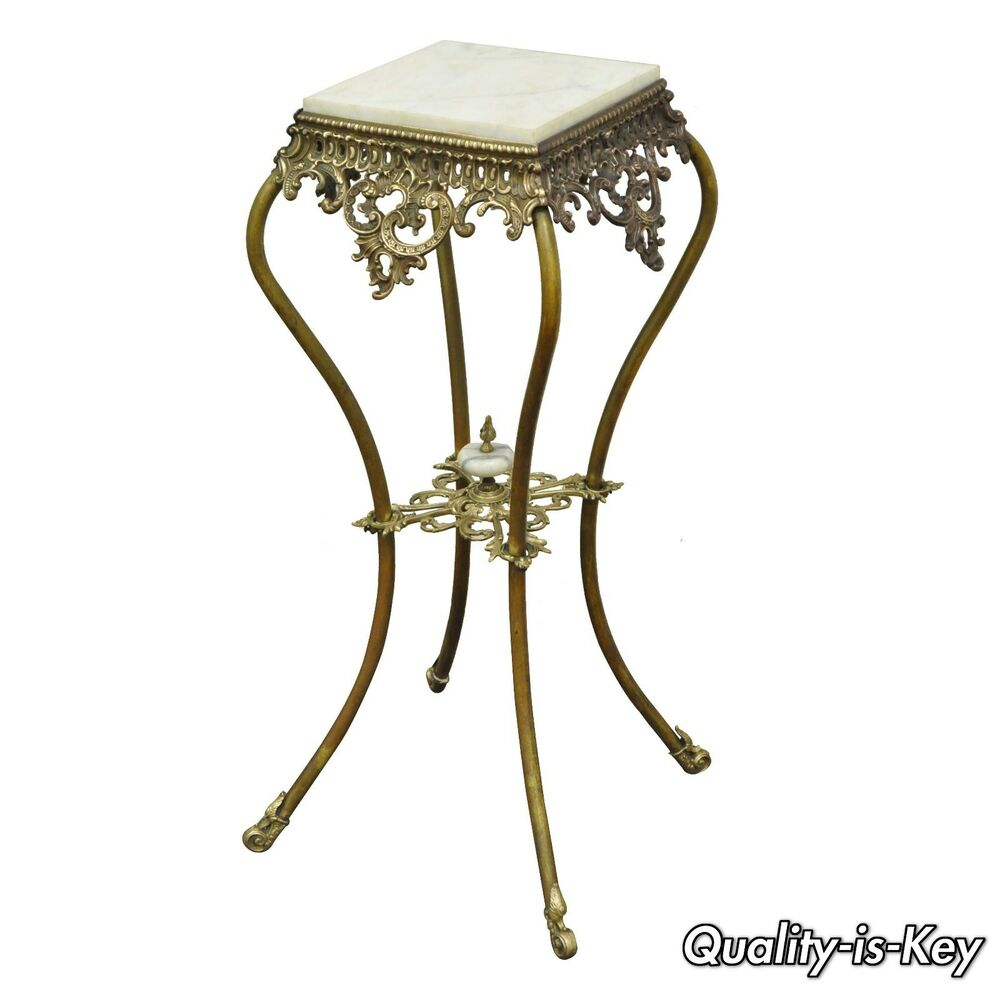 Ornate Antique Victorian Brass Amp Marble Top Plant Stand