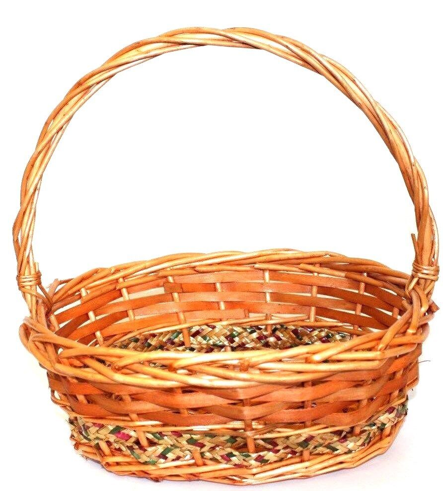 oval wicker baskets with handle christmas hampers picnics storage basket ebay. Black Bedroom Furniture Sets. Home Design Ideas