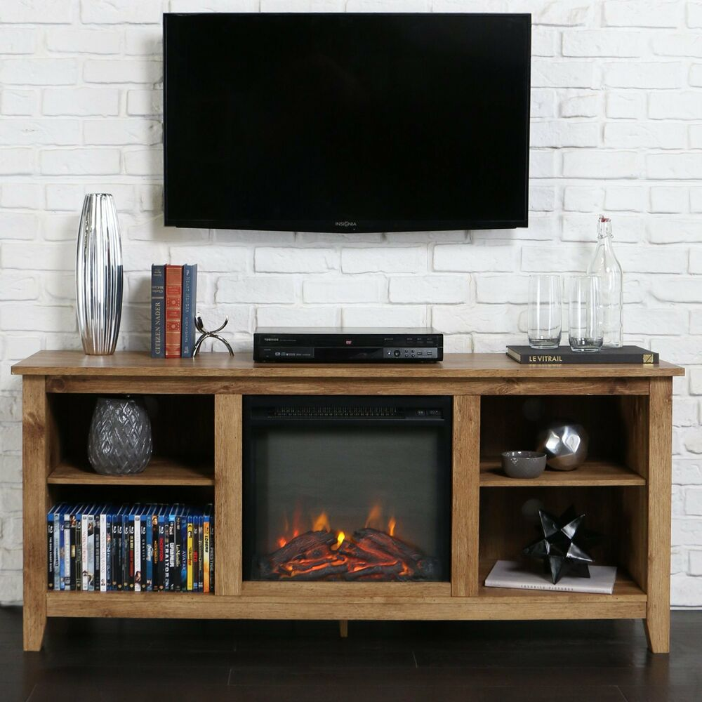 60 inch tv stand fireplace insert rustic heater electric new ebay. Black Bedroom Furniture Sets. Home Design Ideas