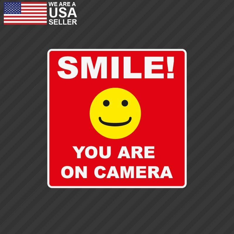SMILE YOU'RE ON CAMERA Stickers Video Alarm Security ...