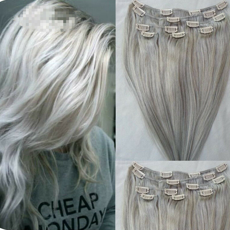 Remy Clip In Human Hair Extensions Silver Grey Clip In
