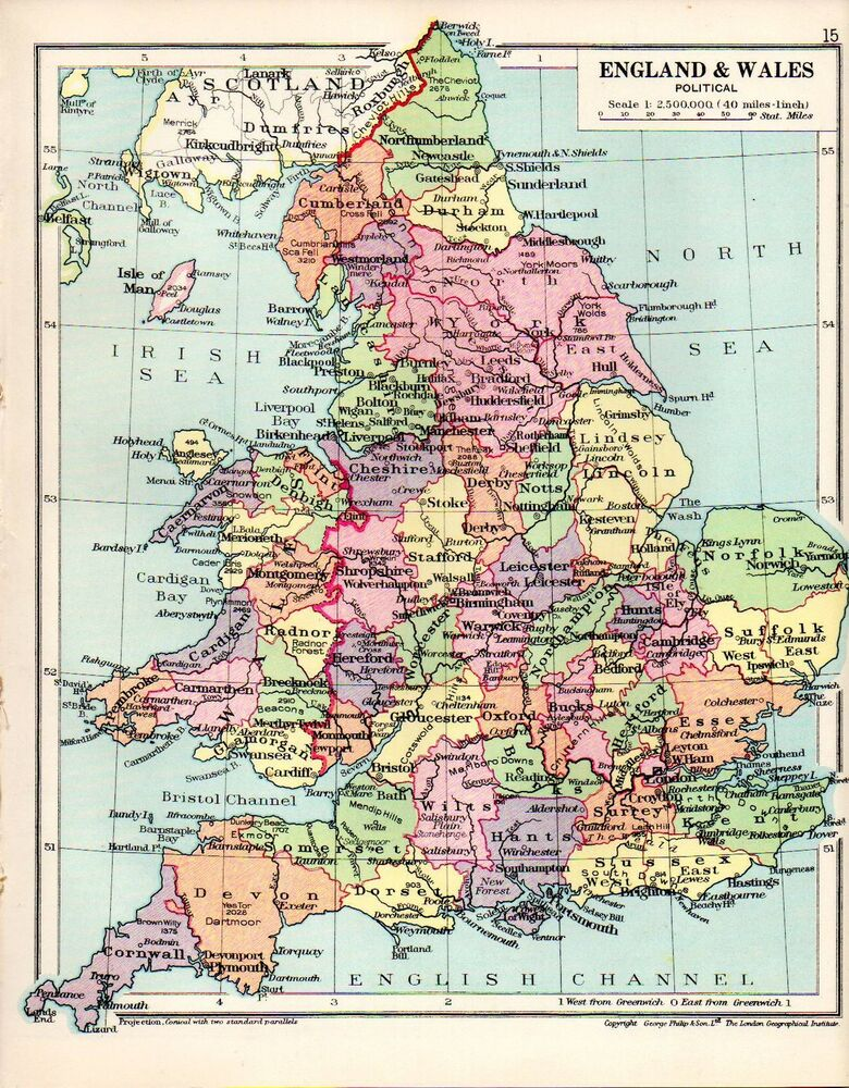 England And Wales Maps EBay - Map of england