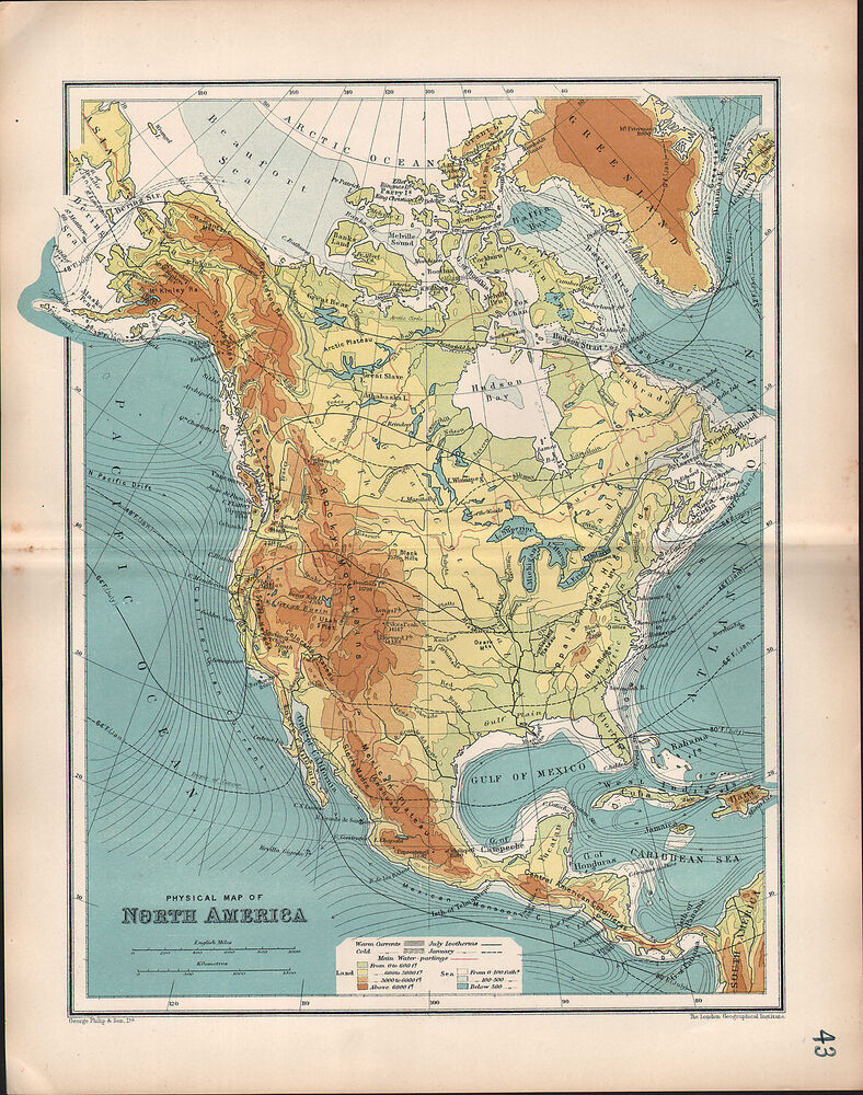 1903 Map North America Physical Rocky Mountains Land
