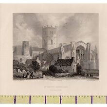 c1800 ANTIQUE GEORGIAN PRINT ~ St DAVID'S CATHEDRAL~ WALES ~ NORTH WEST VIEW