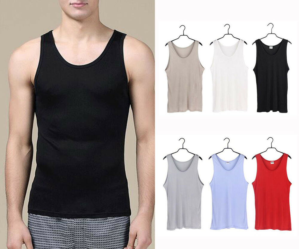 Men 39 s 100 pure silk knitted tank top silk t shirts casual for Diamond and silk t shirts