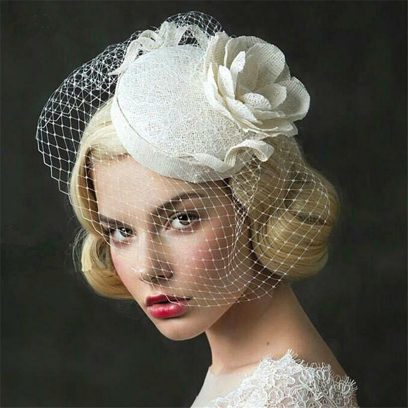 Vintage Wedding Bridal Pillbox Hat Flower Formal Church