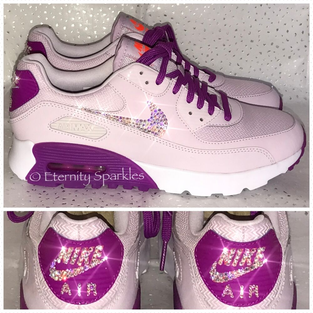90a491e3c9 ... shop details about customised lilac pink crystal nike air max trainers  made with swarovski elements 753c0