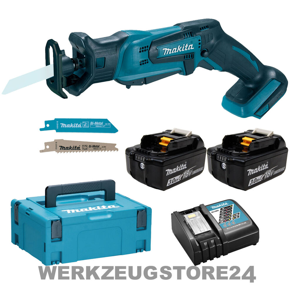 makita djr183rfj akku recipros ge 18v 2x 3 0 ah akku ladeger t im makpac ebay. Black Bedroom Furniture Sets. Home Design Ideas
