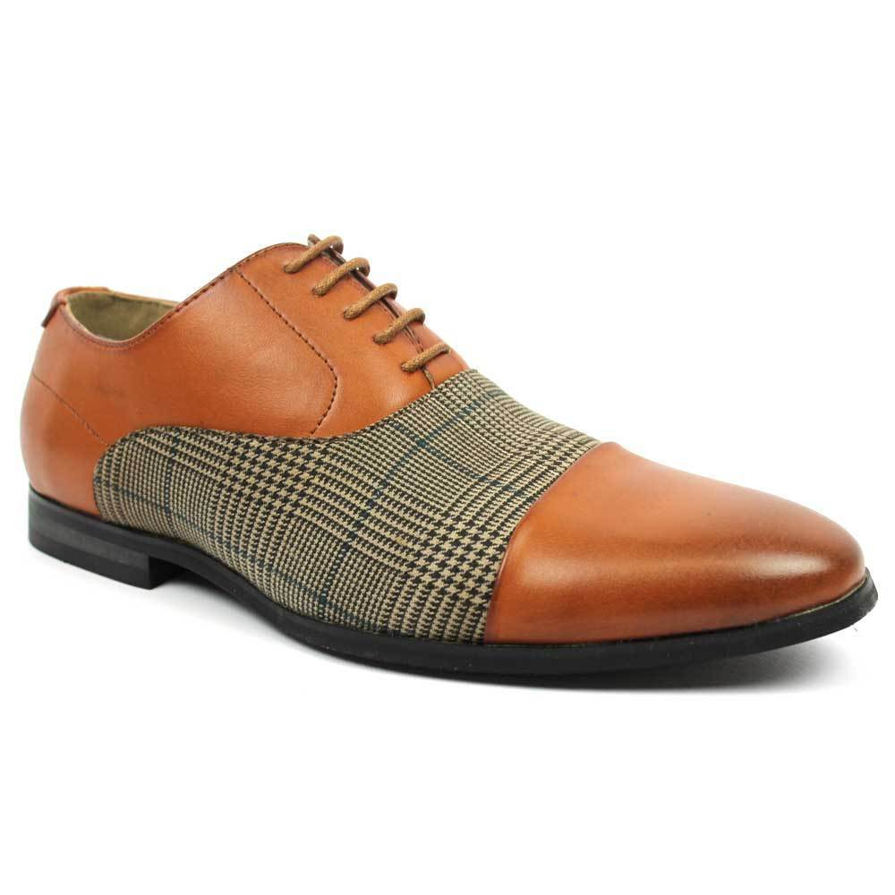 new s congac cap toe plaid checkered lace up modern