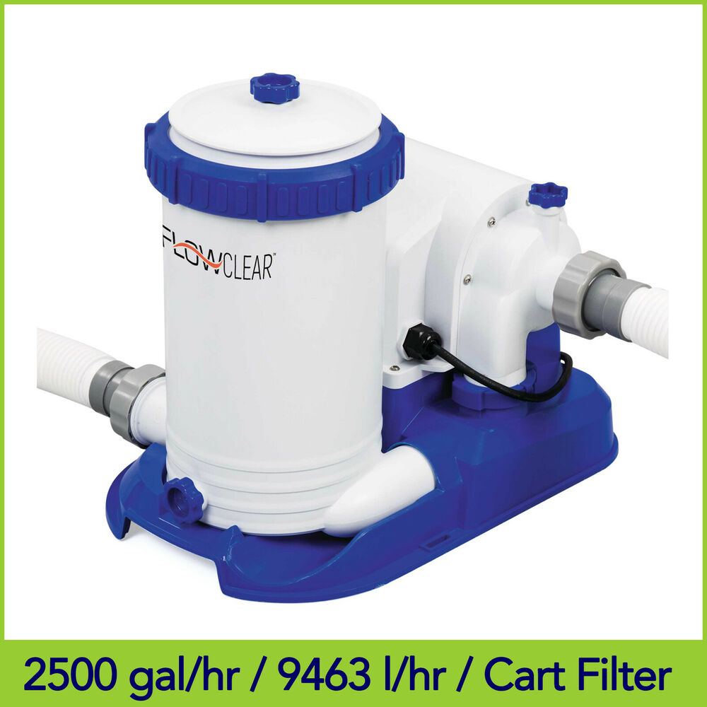 2500gal 9463l bestway flowclear above ground pool cartridge filter pump 58391 ebay. Black Bedroom Furniture Sets. Home Design Ideas