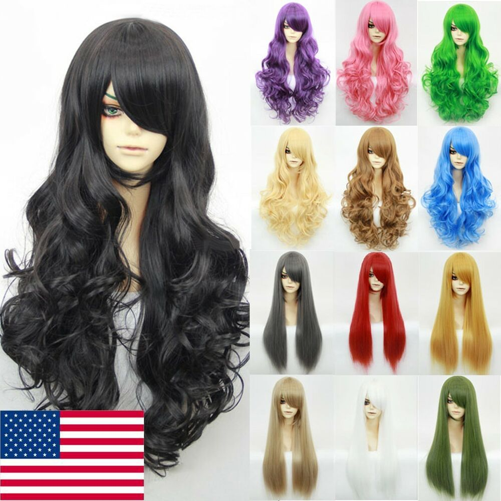 Women Fairy Anime Cosplay Party Long Straight Curly Full Wig Heat Resistant Hair  eBay