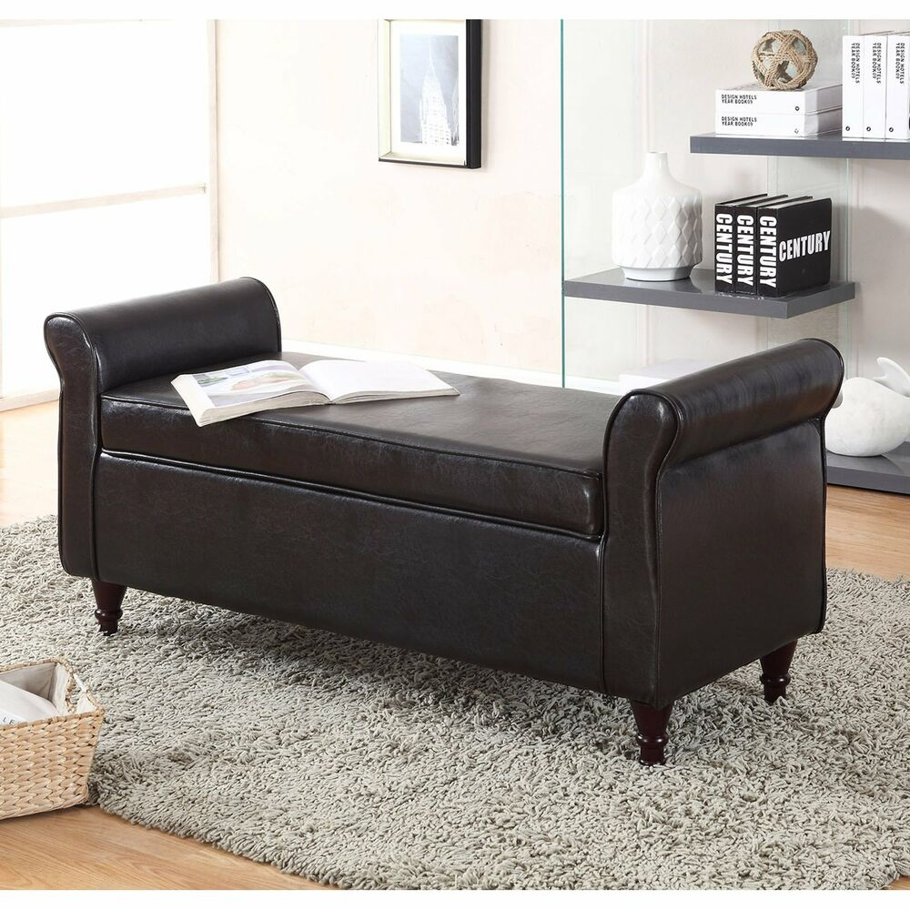 New ottoman footrest sofa shoe storage bench tufted seat footstool winged arms ebay Bench sofa