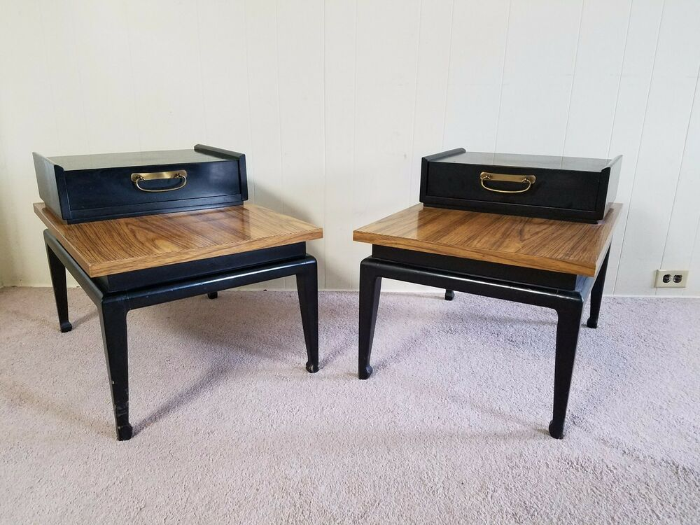 mid century modern hollywood regency black end side step tables ebay