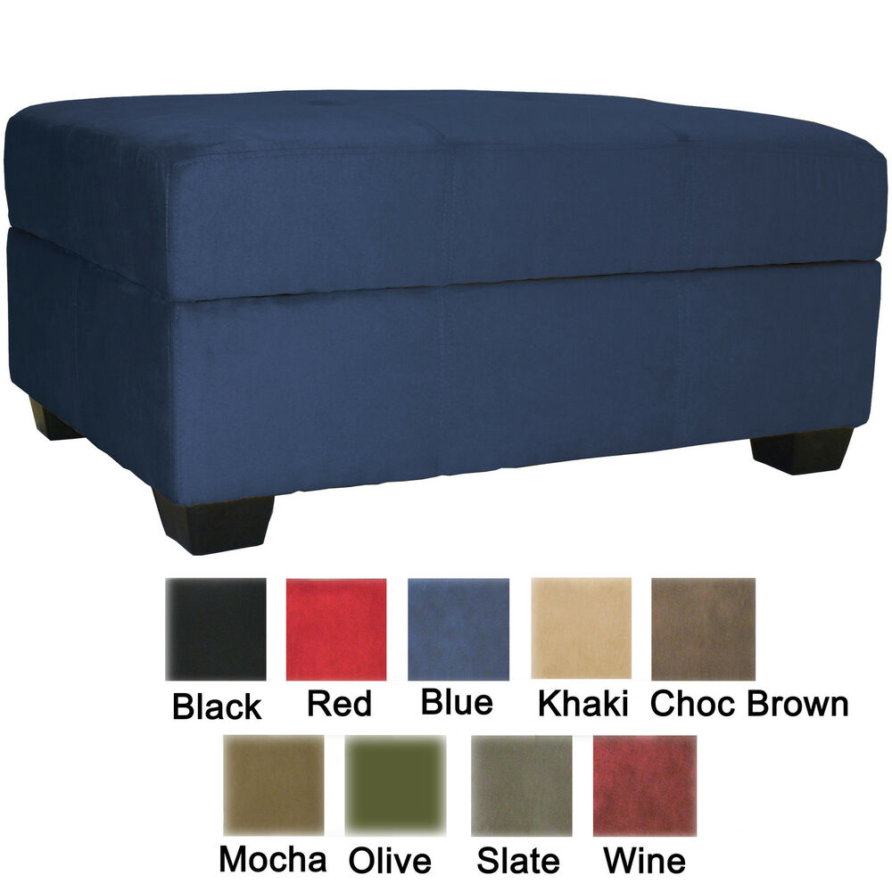 Storage Bench and Ottoman Microfiber Suede or Faux Leather Choose Color! - Microfiber Ottoman EBay