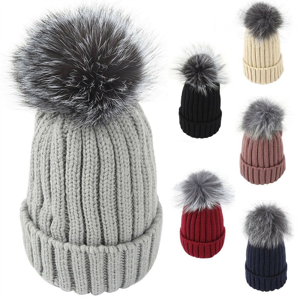 33c50644632 Details about Genuine Real Raccoon Fur PomPom Knitted Hat Bobble Beanie  Unisex Warm Ski Winter