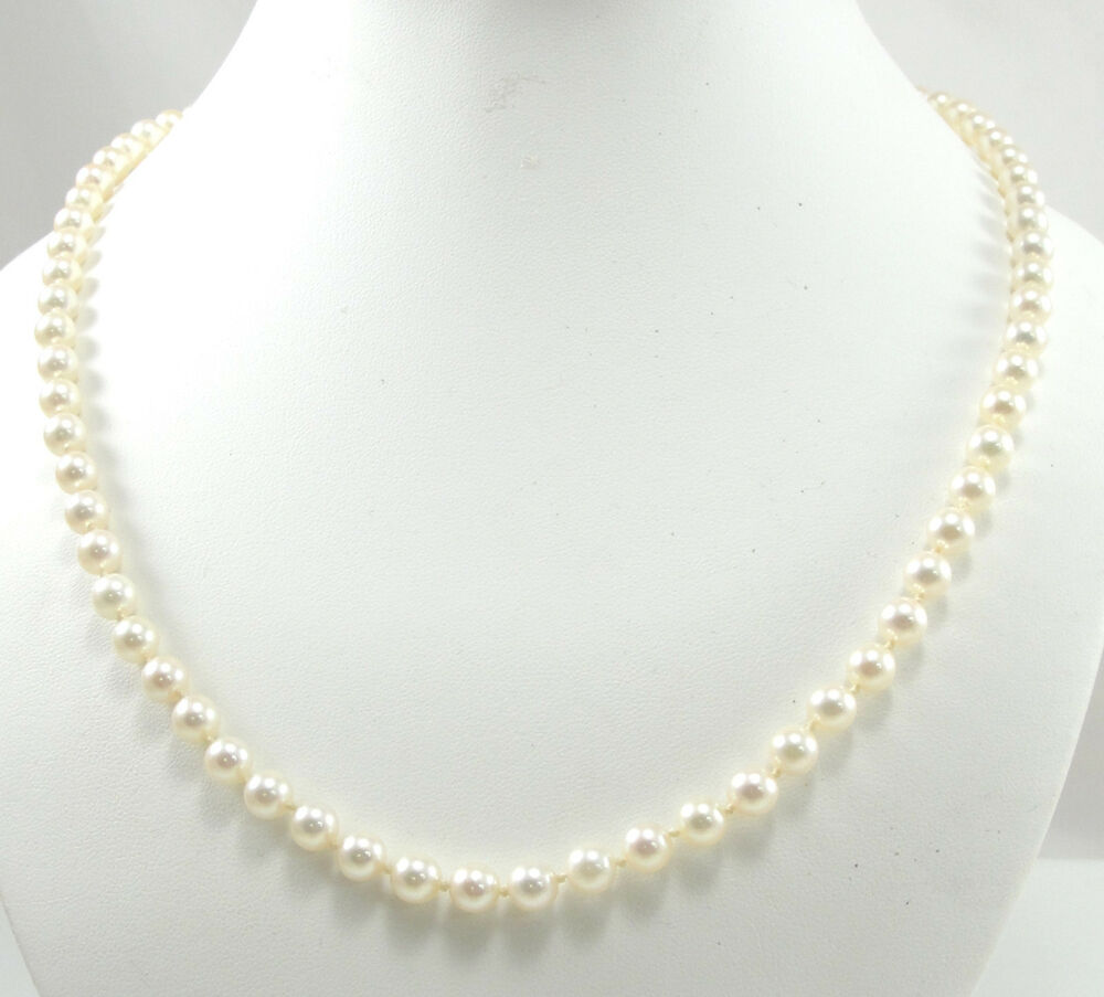 """Pearl Necklace Clasp: Mikimoto 6mm Akoya Cultured Pearl Necklace 22"""" 18K Yellow"""