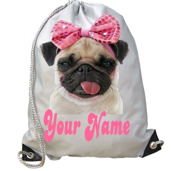 2d216a965139 Details about GIRLS KIDS Personalised Funny PUG DOG Pink Bow School Bag for GYM  Swim PE Dance