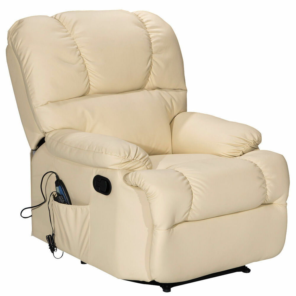 Recliner Massage Sofa Chair Deluxe Ergonomic Lounge Couch Heated W Control Beige Ebay