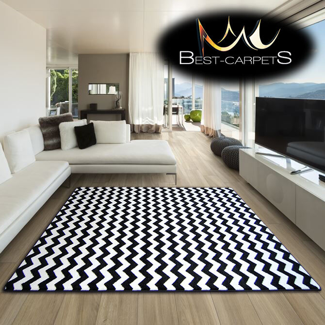 Black And White Rug Ebay Uk: AMAZING THICK MODERN RUGS SKETCH WHITE BLACK F561 ZIG-ZAG