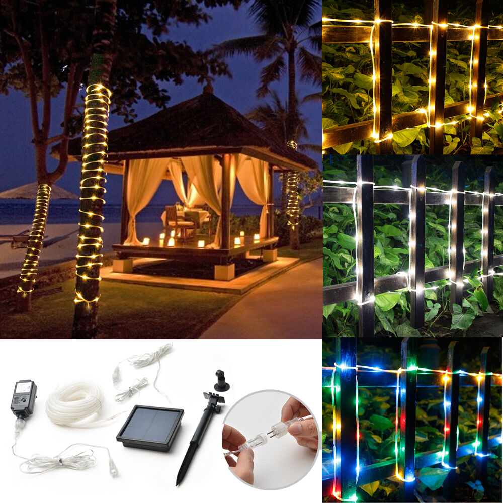 50/100LED Fairy String Rope Light Solar Power Controller