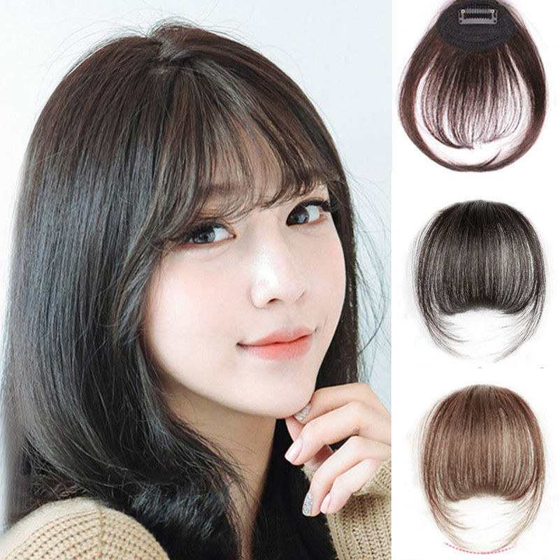 Thin Neat Air Bangs Real Hair Extension Clip In Korean ...