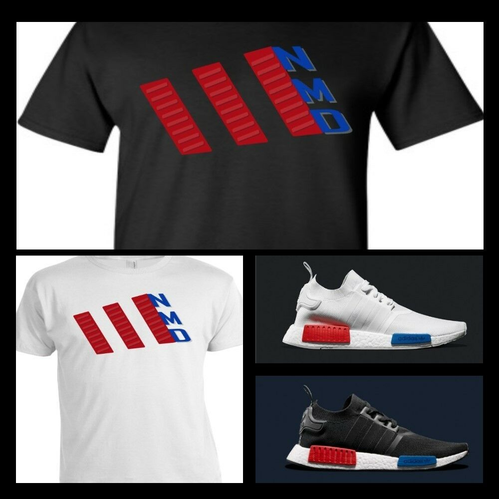 Exclusive tee t shirt to match any adidas nmd runners for Red and blue t shirt