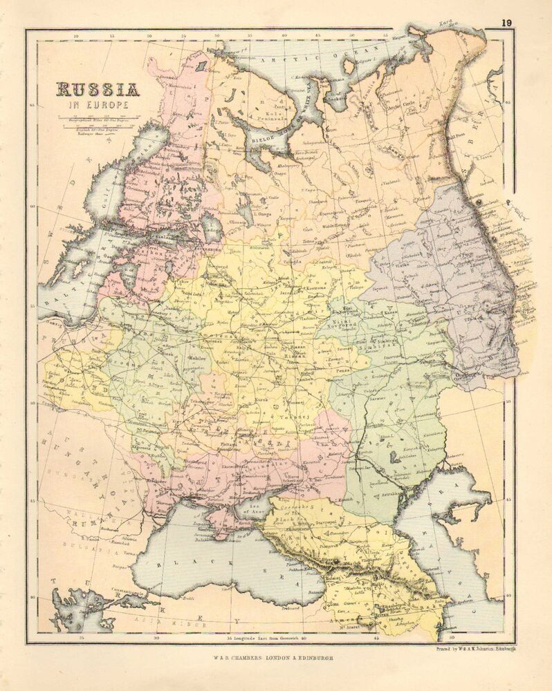 1880 Victorian Map Russia In Europe Finland Poland Ebay
