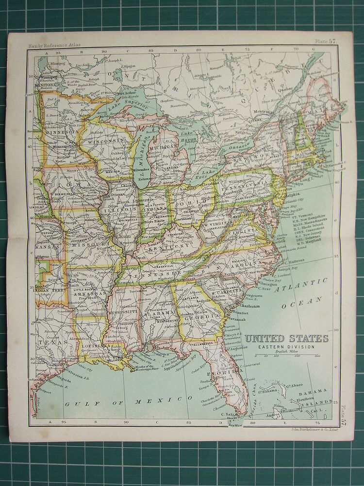 Florida To Maine Map.1904 Small Map United States Eastern Division Georgia Florida New