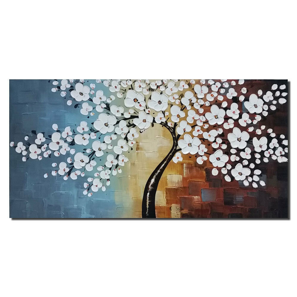 Original hand paint canvas oil painting flower tree home for Art painting for home decoration