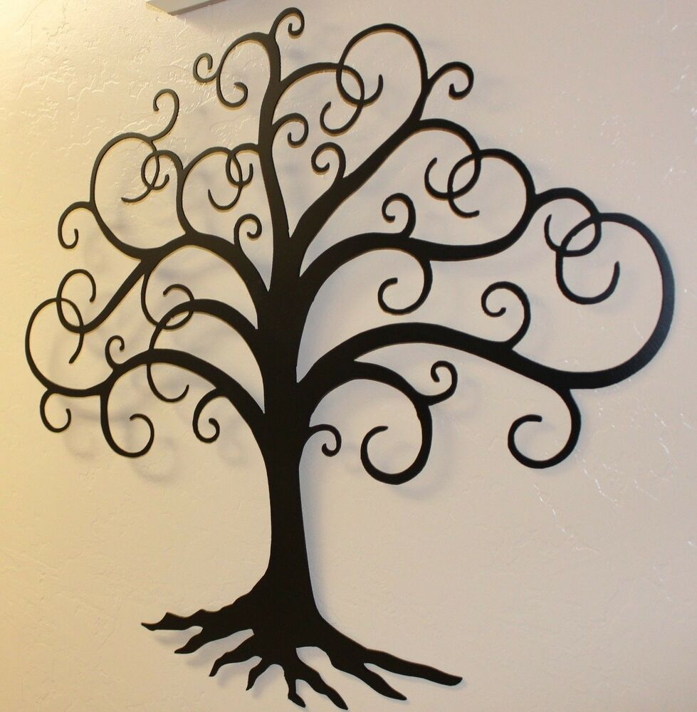 black swirled tree of life 24 tall metal wall art decor. Black Bedroom Furniture Sets. Home Design Ideas