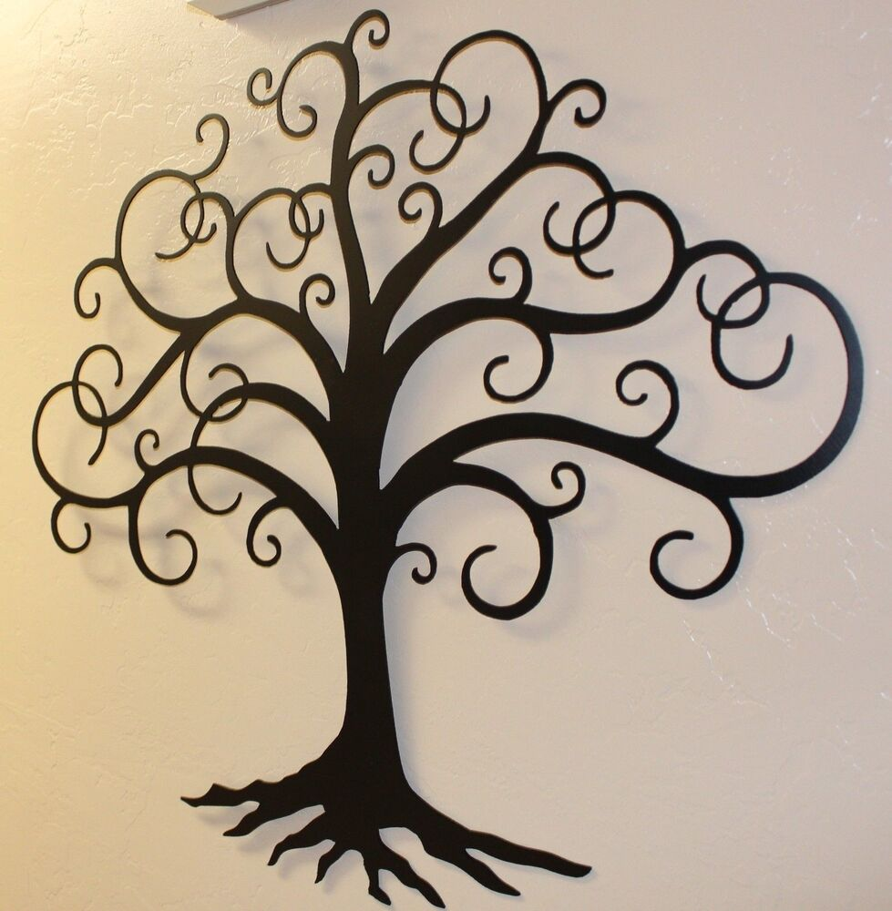 Black Swirled Tree Of Life 24 Tall Metal Wall Art Decor