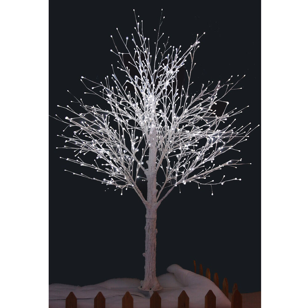 Outdoor White Twig Christmas Tree: 210cm White Snow Decorated Twig Tree With White LED Lights