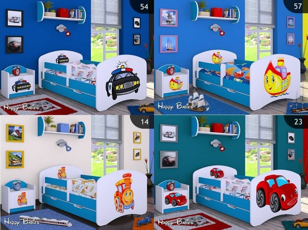 kinderbett mit matratze bettkasten und lattenrost verschiedene motive f r junge ebay. Black Bedroom Furniture Sets. Home Design Ideas
