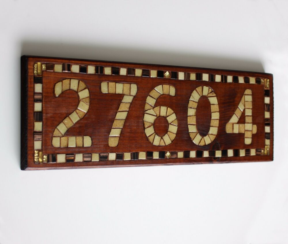 Personalized wooden house number door sign address plaque mosaic art decor ebay - Custom signs for home decor concept ...